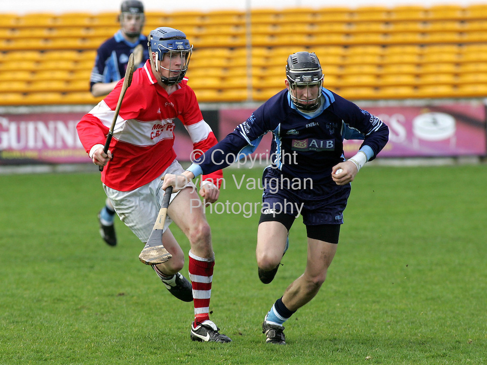 1/4/2006.Pictured at the Midleton CBS V Dublin Colleges match at Nowlan Park in Kilkenny was Dublin Colleges John Sheanon(right) and Midletons Robert White (left)..Picture Dylan Vaughan.