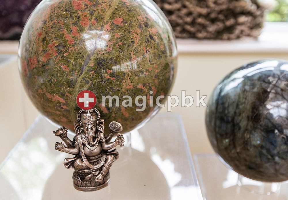 Crystal balls and a Ganesha figure in the seminar room at Dev Aura in Tetford, Lincolnshire, Great Britain, Monday, June 23, 2014. (Photo by Patrick B. Kraemer / MAGICPBK)