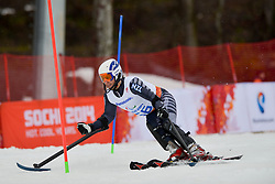 Adam HALL competing in the Alpine Skiing Super Combined Slalom at the 2014 Sochi Winter Paralympic Games, Russia