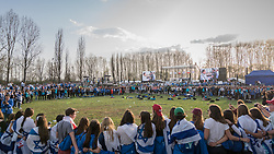 "12.04.2018, Konzentrationslager Auschwitz, Oswiecim, CHR, ""March of the living"" am Weg aus dem ehemaligen deutschen Nazi-Todeslager Auschwitz I nach Auschwitz II - Birkenau, im Bild Teilnehmer des Marsches// participants during the 'March of the Living' from the former German Nazi death camp Auschwitz I to Auschwitz II - Birkenau at the concentration camp in Oswiecim, CHRand on 2018/04/12. EXPA Pictures © 2018, PhotoCredit: EXPA/ Florian Schroetter"