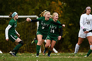 Rice's Alex Dostie (9) celebrates a goal during the girls soccer semifinal game between Mount Abraham Eagles and the Rice Green knights at Rice Memorial High School on Wednesday afternoon October 31, 2018 in South Burlington. (BRIAN JENKINS/for the FRESS PRESS)
