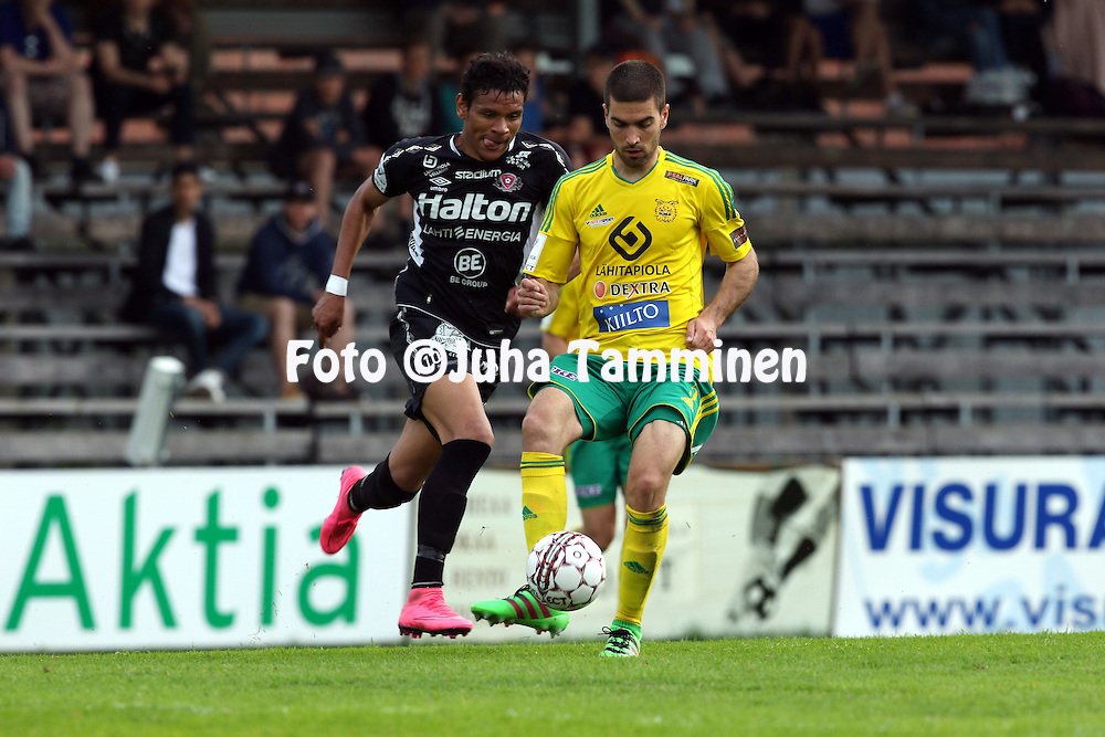 25.5.2016, Tammelan stadion, Tampere.<br /> Veikkausliiga 2016.<br /> Ilves - FC Lahti.<br /> Pavle Milosavljevic (Ilves) v Euller (FC Lahti).