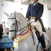 Nicolas Torres Rodriguez and Silver Label during the 2013 Wellington Classic Dressage Sunshine Challenge at the Jim Brandon Equestrian Center in West Palm Beach, Florida.