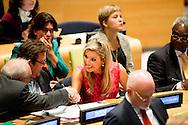 NEW YORK - Queen Máxima will participate in a UN conference on tackling climate change. Action in this area is one of the seventeen new sustainable development goals that have adopted the UN Member States. COPYRIGHT ROBIN UTRECHT NEW YORK - Koningin Máxima neemt deel aan een VN- bijeenkomst over de aanpak van klimaatverandering. Actie op dit gebied is een van de zeventien nieuwe duurzame ontwikkelingsdoelen die de VN-lidstaten hebben aangenomen. COPYRIGHT ROBIN UTRECHT