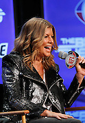 Female vocalist for The Black Eyed Peas, Stacy Ann Ferguson, better known as Fergie, has a laugh as she speaks to the media at the Super Bowl XLV Halftime Show press conference featuring The Black Eyed Peas (held during the week of NFL Super Bowl XLV between the Pittsburgh Steelers and the Green Bay Packers) on Thursday, February 3, 2011 in Dallas, Texas. ©Paul Anthony Spinelli