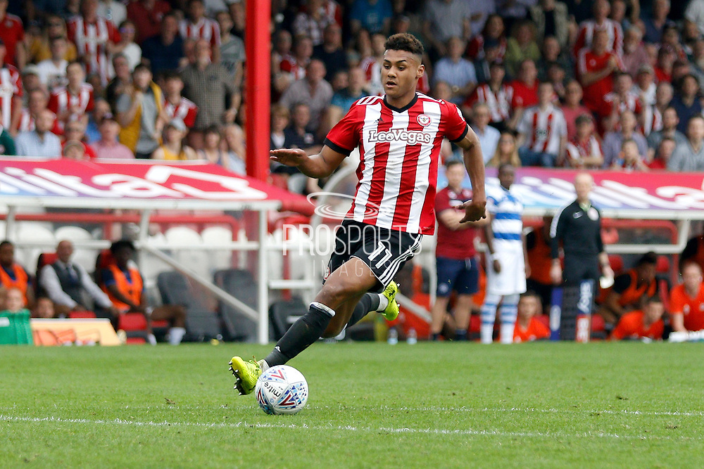 Brentford Forward Ollie Watkins (11) during the EFL Sky Bet Championship match between Brentford and Queens Park Rangers at Griffin Park, London, England on 21 April 2018. Picture by Andy Walter.