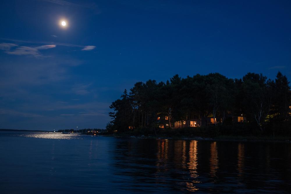 Southwest Harbor, ME - 8 August 2014. Moon over Clark Point.