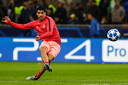 November 6, 2018 - Milan, Italy - Luis Suarez of Barcelona shoots on goal during the warm-up ahead of the Group B match of the UEFA Champions League between FC Internazionale and FC Barcelona on November 6, 2018 at San Siro Stadium in Milan, Italy. (Credit Image: © Mike Kireev/NurPhoto via ZUMA Press)