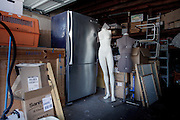 Los Angeles, April 7 2012 - In his house, Greg Schreiner's collection of items related to Marilyn Monroe. In the garage, a stainless steel Hotpoint refrigerator, state of the art for 1962, from the final home of Marilyn Monroe, located at 12305 Fifth Helena Drive, Brentwood.  This refrigerator held the last meal Marilyn Monroe ever ate.