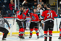 KELOWNA, BC - NOVEMBER 8:  Dillon Hamaliuk #22, Leif Mattson #28, Jake Lee #21 and Liam Kindree #26 of the Kelowna Rockets celebrates a goal against the Medicine Hat Tigers at Prospera Place on November 8, 2019 in Kelowna, Canada. (Photo by Marissa Baecker/Shoot the Breeze)