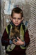 15 of April 2015 / Petrovski/ Donetsk Oblast/ Ukraine - Pasha 5 years old with his guinea pig, Masha.