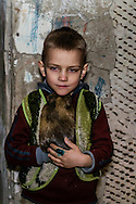 15 of April 2015 / Petrovski/ Donetsk Oblast/ Ukraine - Pasha 5 years old with his guinea pig, Masha.