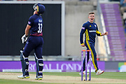 Mason Crane of Hampshire celebrates the wicket of Dane Vilas during the Royal London One Day Cup semi-final match between Hampshire County Cricket Club and Lancashire County Cricket Club at the Ageas Bowl, Southampton, United Kingdom on 12 May 2019.