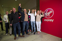 Paula Radcliffe UK opens the Virgin Marathon London Marathon Expo 2015 posing with the first runners queuing to register to receive their bibs.<br /> <br /> L to R<br /> Craig Share Glasses on forehead)<br /> Vick Oliver (with beard)<br /> Paula Radcliffe<br /> Sally Thomson (Blond)<br /> Joey Keegan (crew cut hair)<br /> <br /> Virgin Money London Marathon 2015<br /> <br /> <br /> Photo: Bob Martin for Virgin Money London Marathon<br /> <br /> This photograph is supplied free to use by London Marathon/Virgin Money.