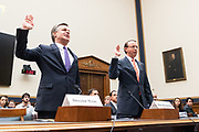 Christopher A. Wray, Director of the Federal Bureau of Investigation, and Rod Rosenstein, United States Deputy Attorney General, at the House Judiciary Committee in the Rayburn Building at the US Capitol in Washington, DC on June 28, 2018