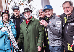 26.01.2019, Rasmushof Alm, Kitzbühel, AUT, FIS Weltcup Ski Alpin, Pressekonferenz, Arnold Schwarzenegger präsentiert eigenen Ski im Stil seines R20 Austrian World Summit, im Bild v.l.: Kjetil Jansrud (NOR), Aksel Lund Svindal (NOR), Arnold Schwarzenegger, Johan Eliasch (CEO Head), Matthias Mayer (AUT), Franz Klammer (AUT) // f.l.: Kjetil Jansrud (NOR) Aksel Lund Svindal (NOR) Arnold Schwarzenegger Johan Eliasch (CEO Head) Matthias Mayer (AUT) Franz Klammer (AUT)  during a press conference, Arnold Schwarzenegger presents own skis in the style of his R20 Austrian World Summit at the Rasmushof Alm in Kitzbühel, Austria on 2019/01/26. EXPA Pictures © 2019, PhotoCredit: EXPA/ JFK