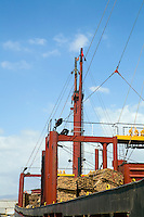 Limassol Cyprus. Freighter loaded with pine planks