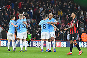 Manchester City players celebrate at full time after a 1-0 win over Bournemouth during the Premier League match between Bournemouth and Manchester City at the Vitality Stadium, Bournemouth, England on 2 March 2019.