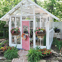 Glass shed and garden