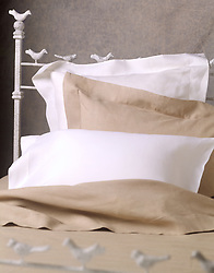 bed with linens
