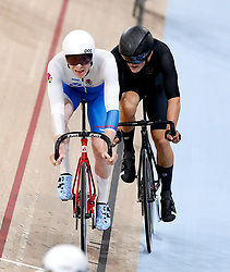 Scotland's Mark Stewart (left) competes in the Men's 40km Points Race Final at the Anna Meares Velodrome during day four of the 2018 Commonwealth Games in the Gold Coast, Australia.