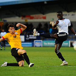 TELFORD COPYRIGHT MIKE SHERIDAN 1/12/2018 - Dan Udoh of AFC Telford sees his shot blocked during the Vanarama Conference North fixture between AFC Telford United and Bradford Park Avenue AFC.