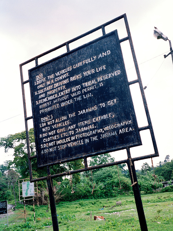 """Warning sign of """"Do's"""" and """"Dont's"""" to observe while driving in the Jawara reserve"""