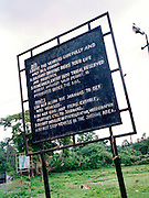"Warning sign of ""Do's"" and ""Dont's"" to observe while driving in the Jawara reserve"