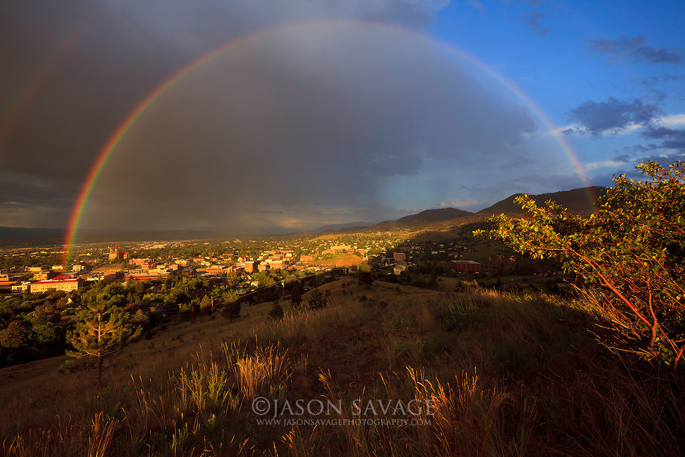Rainbow over Helena, Montana.