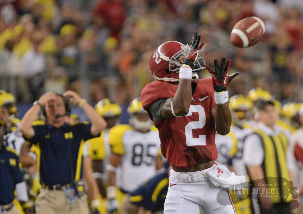 Daily Photo by Gary Cosby Jr.  ..Alabama wide receiver DeAndrew White (2) grabs a pass for a touchdown during the first half of the Alabama vs Michigan Cowboys Classic in Cowboys Stadium, Arlington, Texas Saturday, September 1, 2012.