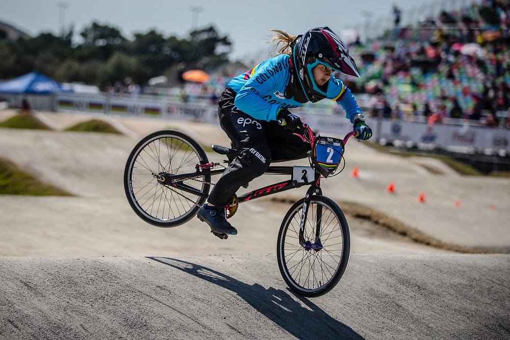 13 Girls #2 (MUNOZ JIMENEZ Silvana) COL at the 2018 UCI BMX World Championships in Baku, Azerbaijan.