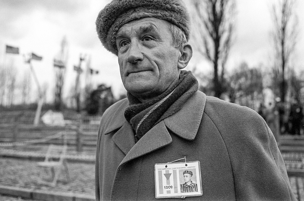 Alojzy Golka (born 12.06.1920) a Polish survivor of the Auschwitz (Birkenau) Nazi concentration camp after the ceremony to remember the 50th anniversary of the liberation in 1995. It is estimated that between 1.1 and 1.5 million Jews, Poles, Roma and others were killed here in the Holocaust between 1940-1945.