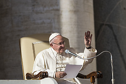 November 9, 2016 - Vatican City, Vatican - Pope Francis delivers his homily as he celebrates his Weekly General Audience in St. Peter's Square in Vatican City, Vatican on November 09, 2016. Pope Francis on Wednesday urged the faithful not to fall into indifference but to become active instruments of mercy. (Credit Image: © Giuseppe Ciccia/Pacific Press via ZUMA Wire)