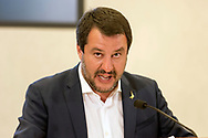 ROME, ITALY - APRIL 24: Italian Deputy Premier and Interior Minister Matteo Salvini of the Interior holds a press conference at the Ministry of the Interior on security, terrorism, Islamic extremism and immigration on April 24, 2019 in Rome, Italy. (Photo by Stefano Montesi)
