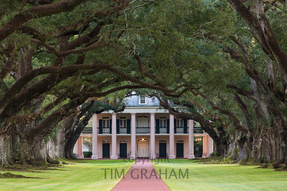 Oak Alley plantation antebellum mansion house and canopy of live oak trees along Mississippi River at Vacherie, Louisiana, USA