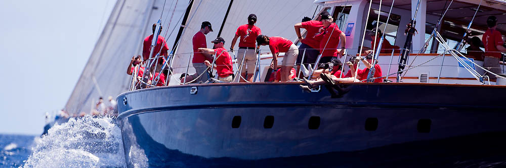 Axia sailing in the 2010 St. Barth's Bucket superyacht regatta, race 1.
