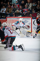 KELOWNA, CANADA - JANUARY 10: Jackson Whistle #1 of Kelowna Rockets defends the net against the Medicine Hat Tigers  on January 10, 2015 at Prospera Place in Kelowna, British Columbia, Canada.  (Photo by Marissa Baecker/Shoot the Breeze)  *** Local Caption *** Jackson Whistle;