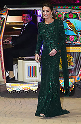 The Duchess of Cambridge arrives by tuk tuk for a reception hosted by the British High Commissioner to Pakistan Thomas Drew CMG at the National Monument in Islamabad during the second day of the royal visit to Pakistan.