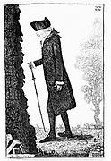 Joseph Black (1728-99) Scottish chemist, taking a walk. Theory of 'latent heat': pneumatic chemistry. Black in 1787. Etching by John Kay.