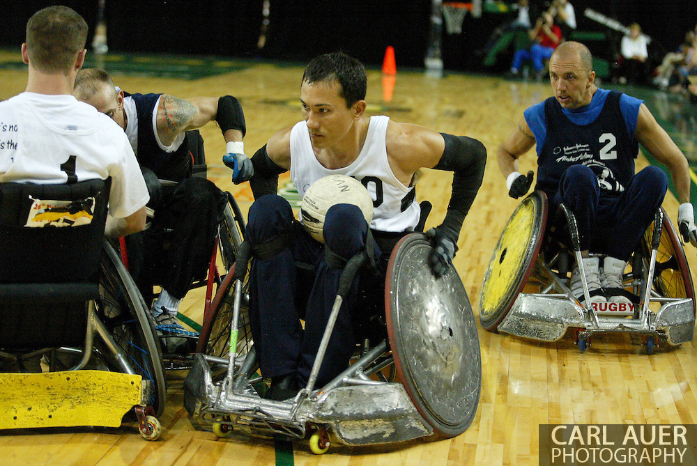 July 7th, 2006: Anchorage, AK - William Groulx (10) speeds out of the pack in the White victory over Blue in the gold medal game of Quad Rugby at the 26th National Veterans Wheelchair Games.