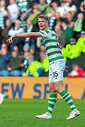 Kristoffer Ajer (#35) of Celtic FC during the Betfred League Cup semi-final match between Heart of Midlothian FC and Celtic FC at the BT Murrayfield Stadium, Edinburgh, Scotland on 28 October 2018.