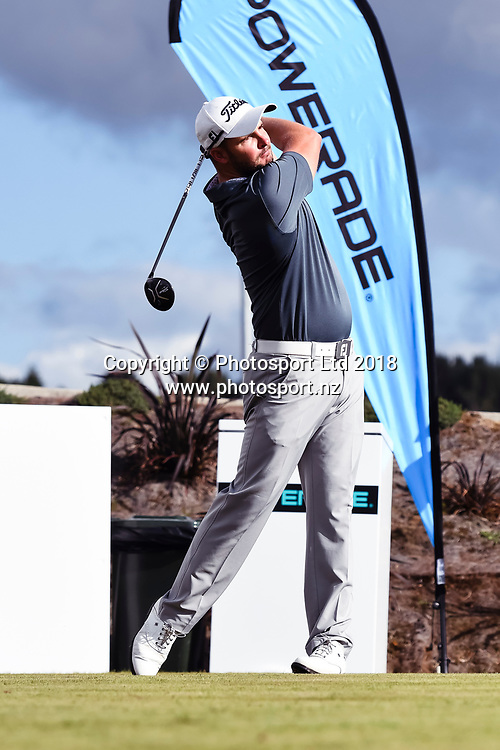 Christopher Wood (QLD) tees off on the 1st hole.<br /> NZ Rebel Sports Masters, Wainui Golf Club, Wainui, Auckland, New Zealand. 14 January 2018. &copy; Copyright Image: Marc Shannon / www.photosport.nz.