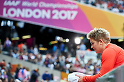 Great Britain, London - 2017 August 07: Anita Wlodarczyk (Skra Warszawa) of Poland looks forward while women&rsquo;s hammer throw final during IAAF World Championships London 2017 Day 4 at London Stadium on August 07, 2017 in London, Great Britain.<br /> <br /> Mandatory credit:<br /> Photo by &copy; Adam Nurkiewicz<br /> <br /> Adam Nurkiewicz declares that he has no rights to the image of people at the photographs of his authorship.<br /> <br /> Picture also available in RAW (NEF) or TIFF format on special request.<br /> <br /> Any editorial, commercial or promotional use requires written permission from the author of image.