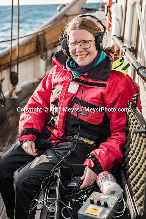 Iceland, April 2019. Marine Biologist MarianneRasmussen is specialised in whale acoustics. Scientists, storytellers and industrial designers work together during the Ocean Missions Iceland scientific sailing expedition aboard Schooner Opal.  The organisation wants to inspire people to take direct action towards ocean conservation, by combining science and education with exploration and adventure. Photo by Frits Meyst / Meystphoto.com