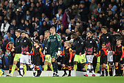 Manchester City midfielder David Silva (21) leads out the Manchester City team for the Champions League match between Manchester City and Dinamo Zagreb at the Etihad Stadium, Manchester, England on 1 October 2019.