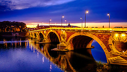 Autumn sunset at the floodlit Pont Neuf bridge over the Garonne River, Toulouse, France<br /> <br /> (c) Andrew Wilson | Edinburgh Elite media