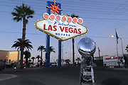General overall view of the Vince Lombardi trophy in front of the Welcome to the Fabulous Las Vegas sign on Las Vegas Blvd. on the Las Vegas strip in Las Vegas, Tuesday, Sept. 25, 2018.