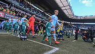 FODBOLD: FC Helsingør's spillere går på banen til  kampen i ALKA Superligaen mellem Brøndby IF og FC Helsingør den 25. februar 2018 på Brøndby Stadion. Foto: Claus Birch.