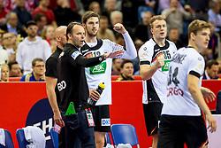 31.01.2016, Tauron Arena, Krakau, POL, EHF Euro 2016, Deutschland vs Spanien, Finale, im Bild Hendrik Pekeler (Nr 13, Rhein-Neckar Loewen) ballt die Faust Dagur Valdimar Sigurdsson (Trainer), Julius Kuehn (Nr 35, VfL Gummersbach) daneben // during the 2016 EHF Euro final match between Germany and Spain at the Tauron Arena in Krakau, Poland on 2016/01/31. EXPA Pictures &copy; 2016, PhotoCredit: EXPA/ Eibner-Pressefoto/ Koenig<br /> <br /> *****ATTENTION - OUT of GER*****