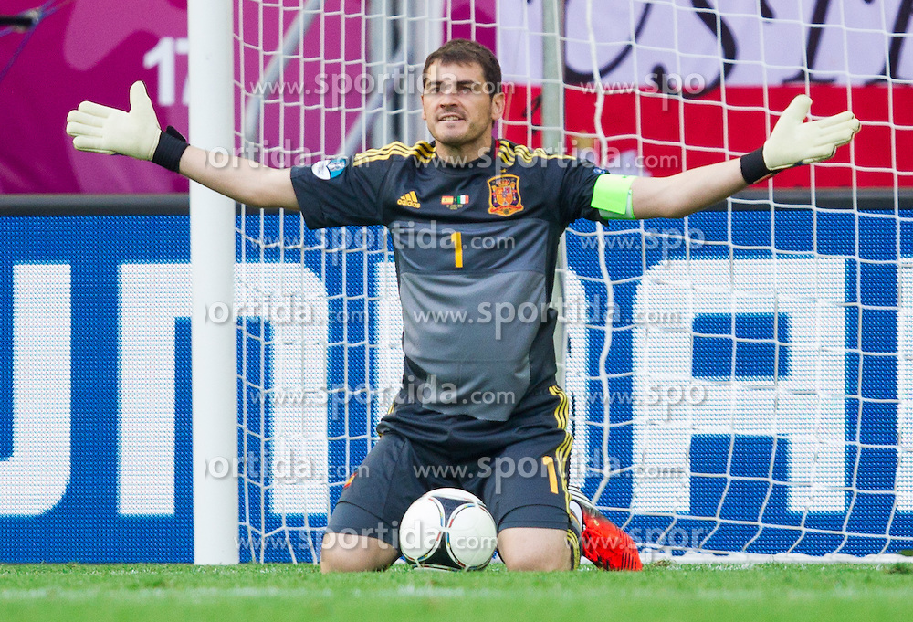 Iker Casillas of Spain during the UEFA EURO 2012 group C match between Spain and Italy at The Arena Gdansk on June 10, 2012 in Gdansk, Poland.  (Photo by Vid Ponikvar / Sportida.com)